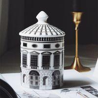Casa de cerâmica titular de vela DIY Castelo artesanal frasco de doces vintage caixa de armazenamento caixa de armazenamento de casa de armazenamento da casa