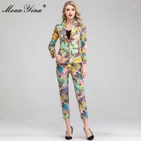 MOAAYINA Moda Tasarımcısı Set Sonbahar Kadınlar Uzun Kollu Suit Tops + 3/4 Pantolon Barok Vintage Baskı Pretty İki Parçalı Set1