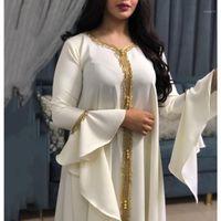 MD Arapça Elbise Püskül Beyaz Abaya Kadınlar Djellaba Müslüman Moda Kızlar Için İslam Giyim Lotus Sleeve Cobes Artı Boyutu Boubou1