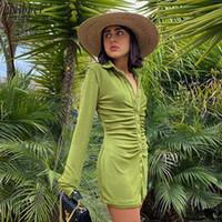 Nibber осенний стек дизайн фланелевые плиссированные платья тела для женщин Enegant Party Street повседневная длинная рукава мини-платье женщины Y0118