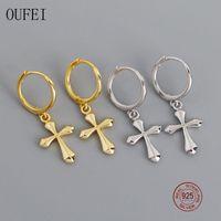 استرخى الثريا oufei 925 فضة الصليب أقراط بسيطة رائعة قطرة للنساء الأزياء والمجوهرات