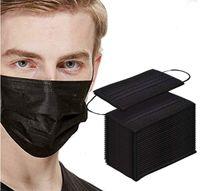 50 pc rosto preto boca máscara protetora filtro descartável lagoa não tecido boca máscaras no estoque rápido transporte