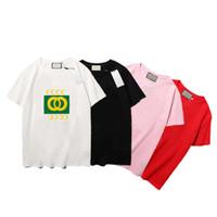 21ss 여름 남성용 T- 셔츠 여성 티셔츠 글자 인쇄 패션 디자인 복고풍 패턴 반팔 통기성 티셔리 4 색