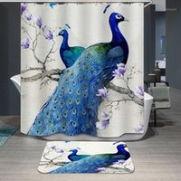 Tende da doccia Modello naturale Pavone Beauty Beauty Poliestere Impermeabile e Mouldproof Lavabile per bagno doccia1