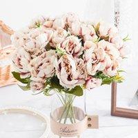 Künstliche Blumen Pfingstrou-Blumenstrauß Weihnachten Dekorationen für Home DIY Herbst Dekoration Rose Holding Blumen Geschenk Hochzeitszubehör1