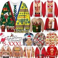 Camisolas masculinas Costumes de Natal feia camisola moda 3d redondo pescoço outono casual e inverno engraçado impressão digital