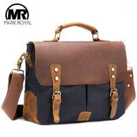 Duffel Çanta Markroyal Deri Seyahat Erkekler Vintage Omuz Büyük Kapasiteli Çanta İş Çantası Okul Laptop Tote Bag1