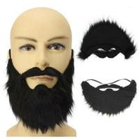 파티 마스크 남성 남성 긴 가짜 수염 콧수염 할로윈 장식 축제 용품 U 모양 인공 수염