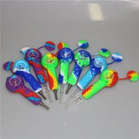 Food Grade Silicone Pipes With dabber tool titanium nail quartz tip Tobacco Cigarette Smoking Hand Spoon Pipe Tool Accessories