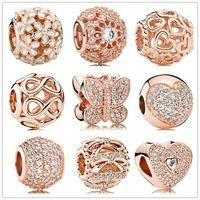 Autentiche 925 perline d'argento perline geometriche sfaccettature in oro rosa fianco perline fascino adatti braccialetti di gioielli in stile Pandora europeo MURANO 791722NBS
