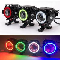 Nouvelle promotion limitée U7 Cree 125W Voitures MotoClycles LED Feu de brouillard 4 Connecteurs de couleurs DRL Moto Headlights Phare de conduite Spotlight Mot_20a