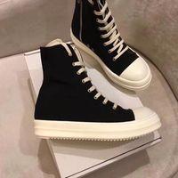 유행 검은 짧은 숙녀 발목 부츠 라운드 발가락 캔버스 두꺼운 하단 지퍼 레이스 업 디자이너 마틴 부츠 남성과 여성 신발
