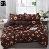 Juego de ropa de cama 4 unids / set 21Style Hoja de cama Funda de almohada Conjuntos de tapa de edredones Stripe Aloe Cotton Set Home Bed Textile Products 201116