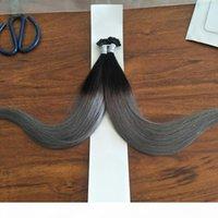 # 1b серые наращивания волос ombre бразильские прямые человеческие кератиновые волосы U советы 200s предварительно связанные наращивания волос человека 200гр