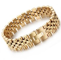 15mm Hiphop Gold-Edelstahl-Bügel-Typ Adjustable Armband für Männer Frauen Luxusuhrenarmband Männer Armbänder Schmuck pulseras