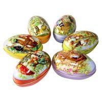 Moda Pasqua uova di Pasqua Decorazione di Pasqua Cabochons Tin Candy Box di stoccaggio Forniture per feste Piccoli regali per feste vacanze WY1085