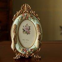 프레임 6 인치 크리 에이 티브 유럽 스타일 목회 빈티지 포 침실 양각 장미 수 지 침실 테이블 그림 홀더 결혼 선물