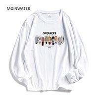 Moinwater Kadınlar Rahat Baskı Uzun Kollu T-Shirt Lady Pamuk Siyah Moda Kadın Beyaz Tees Üstleri Gömlek MLT1908 201029