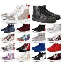 أعلى جودة أحذية حذاء أحمر أسفل الجلد المدبوغ ارتفاع المدربين الرجال النساء حفل زفاف الكريستال والجلود والاحذية الأحمر قيعان يورو حجم 47