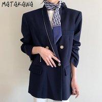 Costumes de femmes blazers matakawa ligne contraste couleur conception lâche blazer femmes coréen chic automne élégant cossu de bureaux à double boutonnage