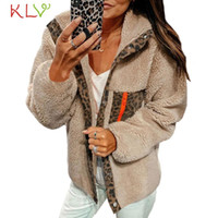Chaqueta de mujer leopardo impresión puntada vellón abrigo de invierno botón cálido bombardero rompevientos casual femme outwear ropa más tamaño