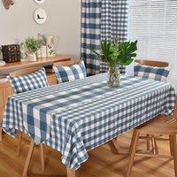 Tablecloth xadrez azul pequeno verificação de algodão de algodão linho tablecloth retangular moderno moderno moderno