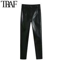 TRAF Women Chic Fashion Faux Cuero Skinny Fit Pants Vintage High Cintura Side Cremallera Hembra Tobillo Pantalones Mujer 201031