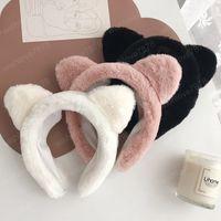 Oído nueva Lavar la cara del gato de las vendas anchas Headwear Hairbands FELPA para niñas accssories dulce linda del pelo de la venda de moda de piel sintética de pelo