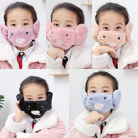 Fast shipping 2 in 1 Face Masks Ear Warmer Winter Christmas Mask Dustproof Cold Warm Earmuff Mask for kids protective masks fy9229