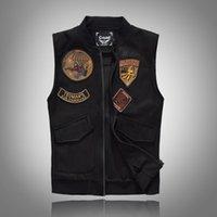 Весна Осень 2020 Черный сплошной цвет Denim жилет Мужская Punk Rock Стиль Жилет Мотоцикл рукавов куртки