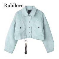 Giacche da donna RUBILove Donne Giacca in velluto a coste tascabile Inverno Autunno Capispalla Button Tassel Nero Grigio Blu