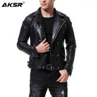 Faux de fourrure pour hommes Faux Aksr Veste en cuir pour hommes Veste multi-zippée Punk Style Casual Slim Coat Moto M-5XL1