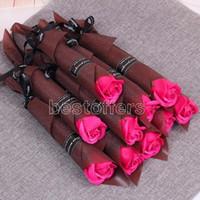 Singolo stelo Rosa artificiale romantico romantico giorno di San Valentino di nozze festa di compleanno sapone rosa fiore rossa rosa blu lavanda