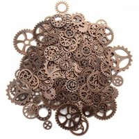 Charms About 120g/lot DIY Jewelry Making Vintage Metal Mixed Gears Steampunk Gear Pendant Bracelet Accessories(Ancient Red Coppe1