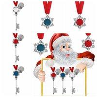 Weihnachtsschneeflocke Schlüsselanhänger Anhänger Dekoration Magie Weihnachtsmann Weihnachtsbaum Ornamente Geschenke DIY Halskette Schmuck Partei Requisiten FFA4475