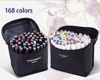 Venta caliente 168 Color Single Art Sello Marker Pen Cepillo Bosquejo Alcohótico Marker Pen Doble Cómico Dibujo Dibujo Pluma Artículos de arte
