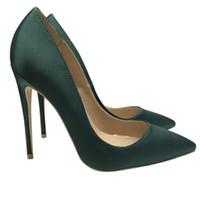 Бесплатная доставка женская обувь 12см каблук новый шелк темно-зеленый заостренный на высоких каблуках мода женщины сатин тонкая каблука платье вечеринка туфли 10см 8 см коробка