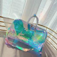 대형 50cm 수하물 가방 Strapless PVC 남성 여성 디자이너 핸드백 패션 스포츠 야외 팩 다채로운 여행 가방 편지 더플 가방