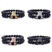 Braccialetto della corona del leone Braccialetto di fascino nero di glaciale Braccialetti di fascino degli uomini delle donne Accessori dei gioielli del braccialetto Moda 4 8BB G2B