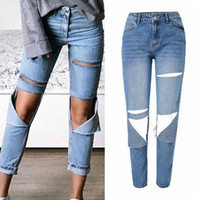 Womens Fashion High Waisted Distressed Washed Straight Jeans...