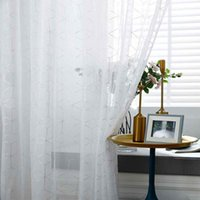Window Curtain See Through Tulle Romantic Vibe Geometric Liv...