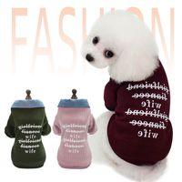 Brief gedruckt Haustier Kleidung Designer Hund Kleidung hautfreundlicher Hundekleidung Mode Mantel Denim Kragen Pullover Outdoor Outwear Großhandel