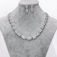 Оптовая торговля бренд сверкающий кубический цирконий CZ Crystal цветок ожерелье и серьги свадебные свадебные ювелирные наборы