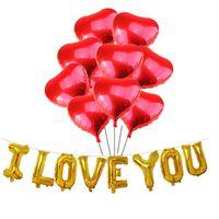 I lager Bröllopstillbehör Kärlek Hjärtformad Persika Hjärta förtjockad latexballongliftballong 18 tums röd aluminiumfilmballong
