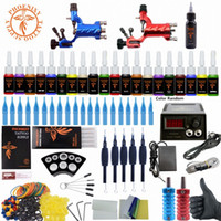 Beginner Tattoo Kits completa Rotary máquinas de tatuagem armas Ink Define Power Supply Needles Top Ink Tattoo 78NY #