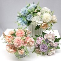 인공 장미 꽃 수국 하이브리드 꽃다발 장식 DIY 홈 가든 웨딩 장식 가짜 장미 꽃 플라스틱 공장