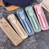 Creative Wheat Straw Cutlery Set Children's Chopsticks Cuchara Sistema de tres piezas Vajilla portátil Regalo Viaje Camping Cubiertos Conjunto
