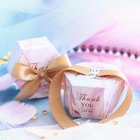 NOUVEAU Creative Romantique Style Marbling Style Boîtes de bonbons Faveurs de mariage et cadeaux roses Box Fournitures Baby Douche Papier Sweet Chocol1