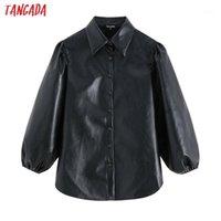 Tangada Mulheres Faux couro preto camisas 2019 nova chegada lanterna manga vintage fêmea de grandes blusas grandes be041