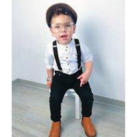 Rorychen Boys Ropa Sets Otoño Niños Niños Ropa Traje Traje Camisa Negro + Monos 2PCS Conjuntos Conjuntos Niño Boy Ropa LJ200831